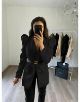 Women's Ladies Padded Puff Shoulder CC Belted Party Blazer Waistcoat Jacket Top