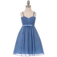 DUSTY BLUE Flower Girl Dress Rectical Wedding Dance Formal Prom Graduation Party