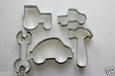Boys COOKIE/biscuit CUTTER SET Car Ute Tractor Hammer Wrench 5pc fondant