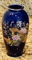 Japanese Style Blue Vase 6 Inch Pheasant Flowers Gold Trim