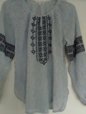 New Ex White Stuff Blue White Striped Long Sleeve Embroidered Kaftan Top Size 18