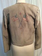 Patricia Wolf Suede Jacket Handpainted Usa Flags Small