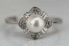 PEARL AND DIAMOND CLUSTER STERLING SILVER RING 925