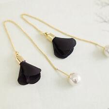 Women Crystal Black Flowers Pearl Drop Long Dangle Chain Earrings Jewelry New