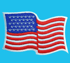 AMERICAN USA FLAG Waving Embroidered Iron Sew On Jacket Hat Patch FREE SHIPPING