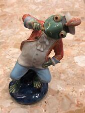 """Vintage '69 Handmade Ceramic Drinking Sailor Frog In Suit Sitting 10"""" Desk Decor"""