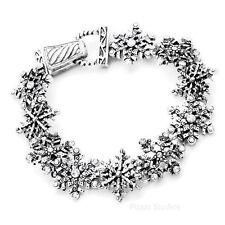 Rhinestone Silver Snowflake Magnetic Clasp Bracelet Womens Jewelry 12-3