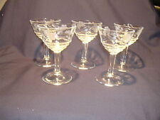 Vintage Set of Five Etched Grape and Vine Cordial Glasses with Stem