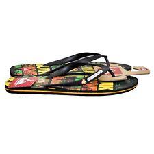 Quiksilver Molokai Flip Flop Sandals Art Series Surf Logo Rasta Men's size 12 M