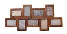 Large Dark Brown Wood 9 Multi Photo Wooden Collage Wall Picture Frame