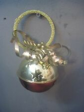 DECORATIVE HANGING CHRISTMAS BELL  GOLD ROPE LOOP