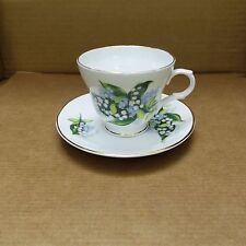 Crown Trent Fine Bone China Cup & Saucer – Staffordshire – Green/Blue Floral