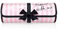 Victoria's Secret, travel With Me, Roll Up Cosmetic Bag w/ Bow, Pink Stripes NWT