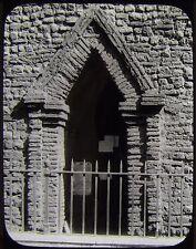 Glass Magic Lantern Slide SAXON DOOR HOLY TRINITY COLCHESTER C1890 PHOTO ENGLAND