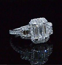 2.30 Ct. Emerald Cut & Trapezoid Eternity Diamond Engagement Ring 14K GIA G,VVS1