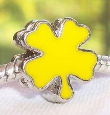 Yellow Enamel Lucky 4 Four Leaf Clover Bead for Silver European Charm Bracelet