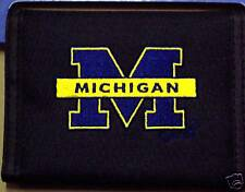 UNIVERSITY OF MICHIGAN WOLVERINES BLACK BLUE AND GOLD EMBRODERED M WALLET NEW