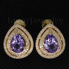 Vintage Solid 14Kt Yellow Gold Diamond Pear 9x7mm Purple Amethyst Earrings CA001