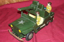 Vintage Battery Operated US Army Jeep Toy Tin Litho TN Japan Japanese Vehicle