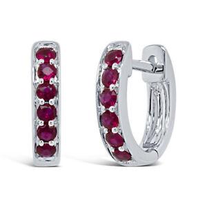 14K White Gold Ruby Huggie Earrings Hoop Natural Round Cut Huggies 0.28 TCW