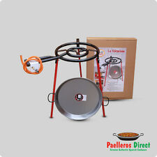 46cm Spanish Polished Steel Paella Pan & 40cm Gas Burner Kit / Set - Square Legs
