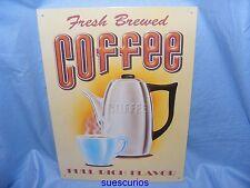 Metal Tin Advertising Cafe Pub Sign Fresh Brewed Coffee