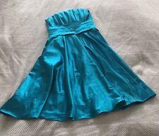 Cinderella Design Aqua Bright Blue Satin Dress Strapless Size Medium EUC