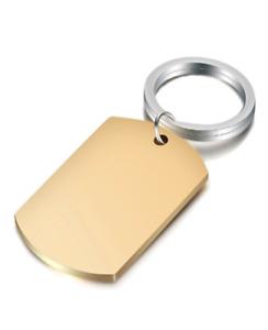 Portachiavi Uomo Donna Targa Targhetta Acciaio PVD GOLD Incisione Personalizzata