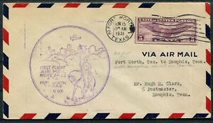 USA Luftpostbrief First Fligth Fort Worth ~ Memphis
