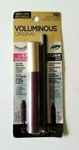 L'Oreal Voluminous Original Mascara + Eyeliner 24Hr Wear ~ 707 Deep Burgundy NEW