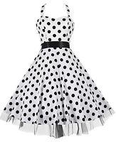 Halterneck Vtg 40's 50's White Polka Dot Rockabilly Jive Party Prom Dress 8 - 20