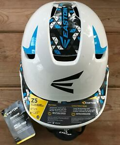 Easton Z5 Jr. Batting Helmet w/Mask Size 6 3/8 - 7 1/8 White/Blue NEW WITH TAGS
