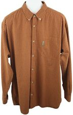 66f7036521af Columbia Hombre Naranja Quemado Vichy Botón Manga Larga Abajo Camisa Talla  XL