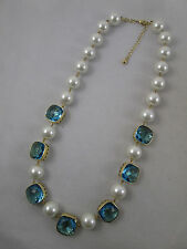 BIG Faux Pearl & Faceted Blue Glass Necklace Signed B China Gold Hearts Best QVC