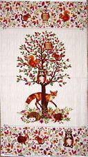 "Fox Wildlife Animal Tree Cotton Fabric Enchanted Forest Studio E 24""X44"" Panel"