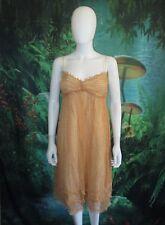 Max Studio Orange Print 100% Silk Sleeveless Empire Waist Dress Size L (E)