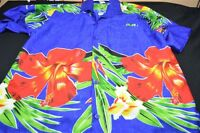 Rima Hawaiian Blue Green Red Yellow Medium Button Short Sleeve Men's Shirt