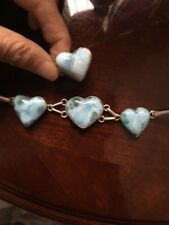Genuine Huge Dominican Larimar Bracelet& Ring Set Hearts 925 Sterling Silver