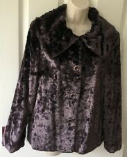 Tuzzi Dark Purple Plush Velvet Swing Jacket Size 12