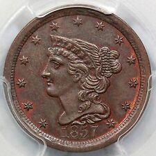 1857 C-1 PCGS MS 64 BN Braided Hair Half Cent Coin 1/2c