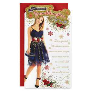 GRANDDAUGHTER CHRISTMAS CARD ~ MODERN DESIGN ~ QUALITY CARD & LOVELY VERSE