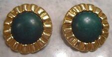 boucles d'oreilles clips bijou vintage rond cabochon vert couleur or 2184