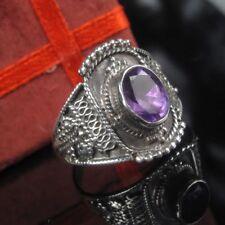 Antik Jugendstil Amethyst  Silber 835 Ring 17.8mm / 56 Damen  Handarbeit