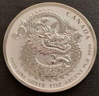 2018 FINE 1oz .9999 SILVER CANADA DRAGON HIGH RELIEF $5 DOLLARS BULLION COIN
