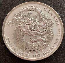 2018 FINE 1oz .9999 SILVER CANADA DRAGON HIGH RELIEF $5 DOLLARS BULLION COIN