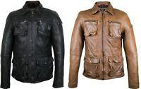 Herren Lederjacke mit Taschen und Kragen Echtes Lamm Leder Bikerjacke