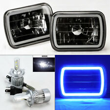 "7X6"" Black Chrome Glass CCFL Blue Halo Headlights w/ 6K 36W LED H4 Bulbs Ford"