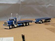 Dcp Custom Peterbilt 379 daycab hay truck w/custom hay flat pup trailer 1/64