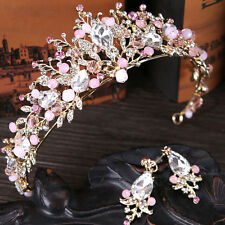 Elegant Pink Rhinestone Crystal Crown Headband Hair Band Wedding Bridal Party