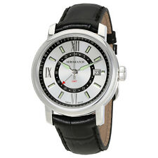 Aerowatch Renaissance Silver Dial Mens GMT Leather Watch A 44937 AA09